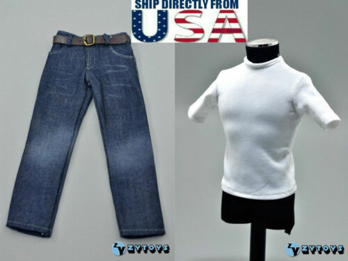 "1//6 T-Shirt Jeans Belt Set For 12/"" Hot Toys PHICEN Worldbox Male Figure U.S.A."
