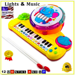 Kids Drum Piano Toy Set For Toddlers Boys Girls Educational Age 12