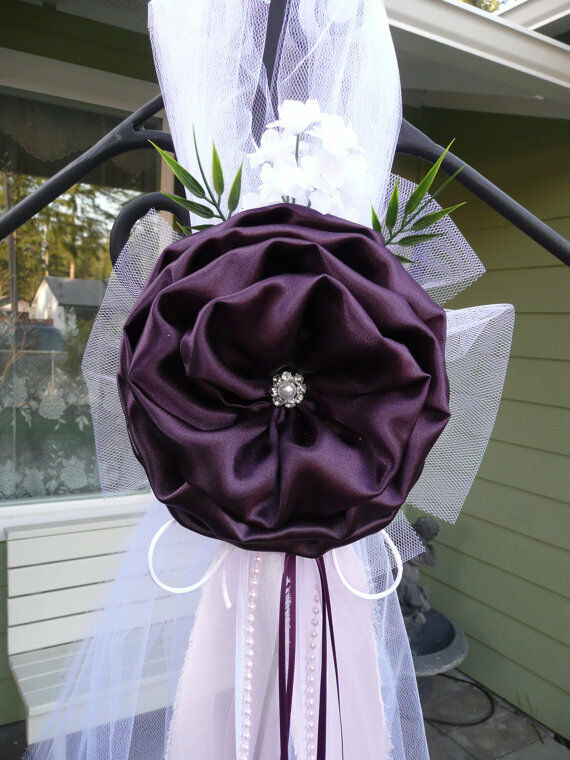 Set of 6 Plum Pew Bows Chair Bows Bows Bows Aisle, wedding decor, Table, Weiß Dark lila 3e8944
