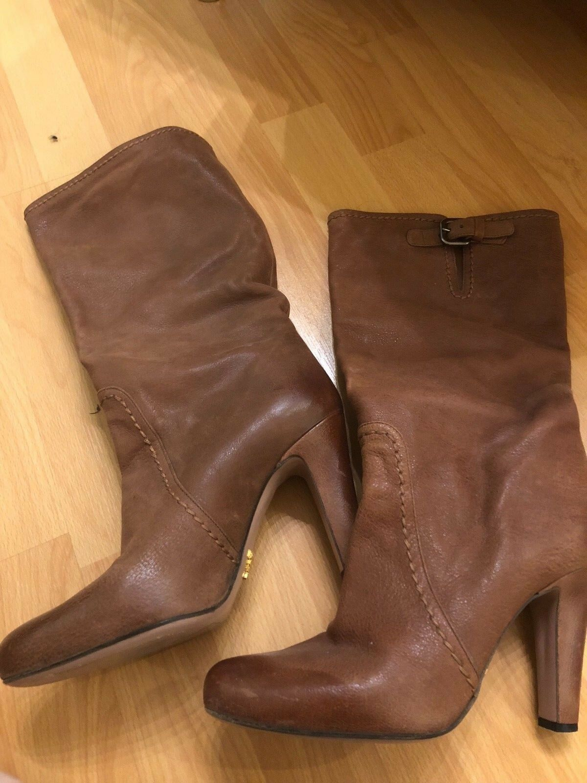 Preowned PRADA Leather Brown High Heel Boots Women's Size 38    SHARWEI