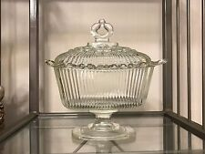 Vintage Clear Pedestal Open Lace Depression Glass Covered Candy Dish