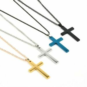 New-Stainless-Steel-Cross-Link-Chain-Men-Gold-Punk-Pendant-Necklace-Jewellery