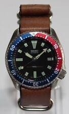 SEIKO Vintage 7002-700A Pepsi Bezel Classic Diver Watch Automatic ZULU Leather
