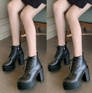 Womens-Punk-Lace-Up-Block-Heel-Platform-Round-Toe-Gothic-Ankle-Boots-Size-34-46