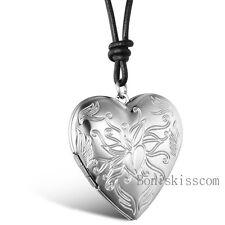 Vintage Floral Charm Love Heart Valentine Lover Locket Leather Necklace Pendant