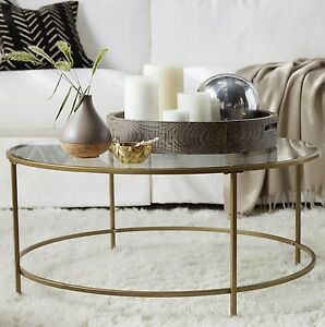 Glass Coffee Table Round Gold Living Room Furniture Vintage Cocktail Decor New Ebay