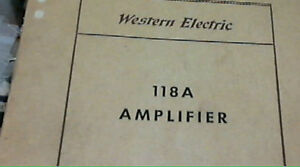 Western Electric INSTRUCTION MANUEL & SD 118A Amplifier