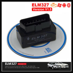 Elm 327 Mini V1.5 Bluetooth Diagnostic Multimarque 16pin Obdii 2 Scanner Noir Beau Lustre