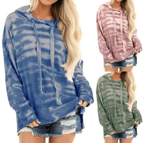 Womens Loose Tie-Dye Hoodie Long Sleeve Sweatshirt Hooded Sport Pullover Autumn