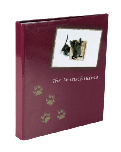 DIN A5 Ringbuch mit silbergefärbter Gravur 2-Ringmechanik mit Katzenmotiv