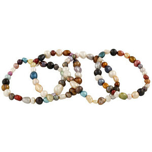Set-of-4-stretch-bracelets-dyed-multicolor-mixed-shape-7-034-FGB-50