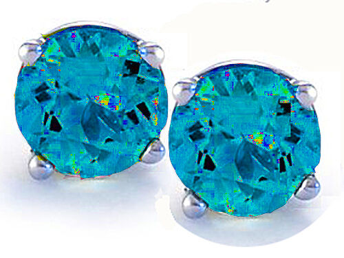 14K GOLD SWISS BLUE TOPAZ  2.86 CARAT ROUND SHAPE STUD PUSH BACK EARRINGS 6mm