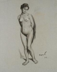 Carl WALTHER (1880-1956), Aktstudie seiner Frau Vera, 1916, Kohle mit Weißhöhung