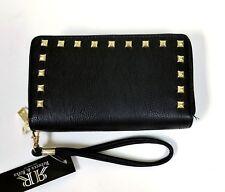 Item 3 Rebecca Rifka Black Pebbled Faux Leather Gold Studs Dual Zip Wallet Wristlet