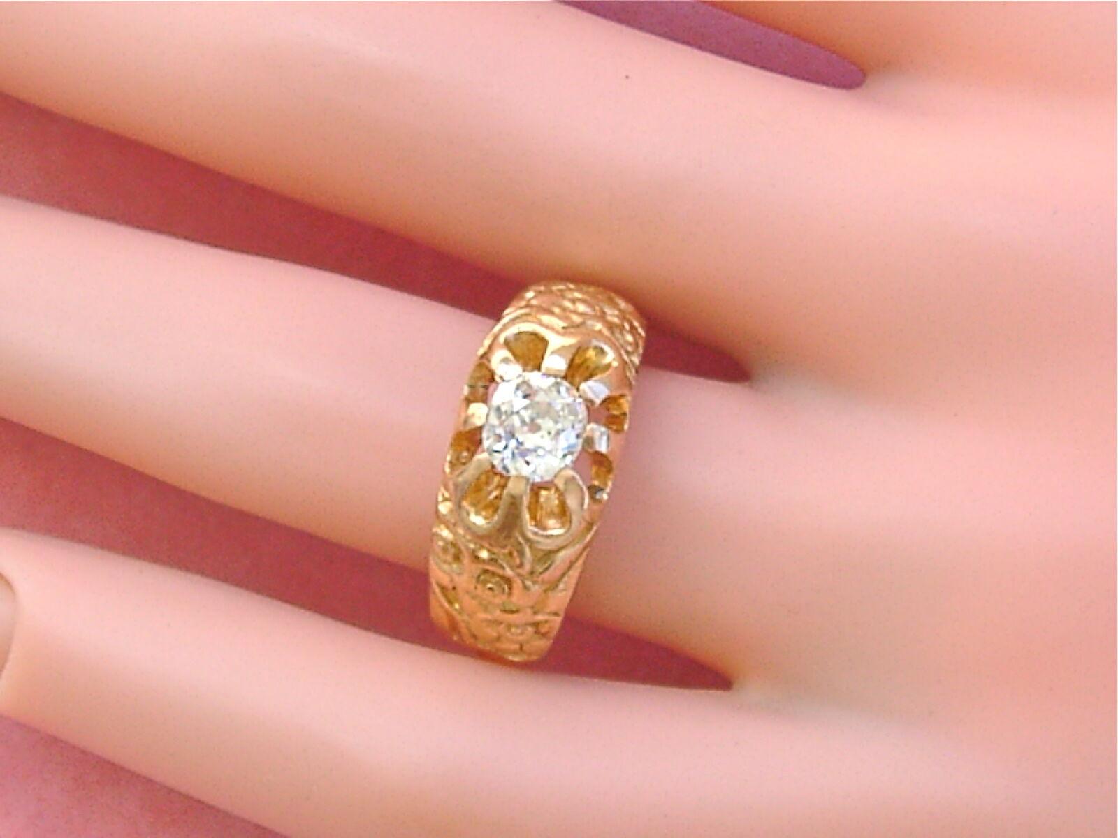 ANTIQUE ART NOUVEAU .75ct MINE DIAMOND SOLITAIRE … - image 7