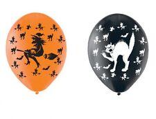 Witch & Black Cat Halloween Balloons black orange Helium or Air FREE P&P