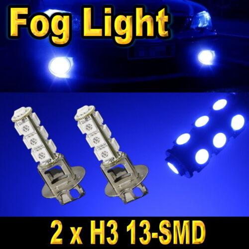 2 PCS H3 Ultra Blue 13-SMD 5050 LED Bulbs For Daytime Running Driving Fog Lights