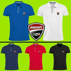 Ducati-Maglietta-Polo-T-Shirt-RICAMATO-Auto-Logo-Camicia-Uomo-Tee-Motocicletta