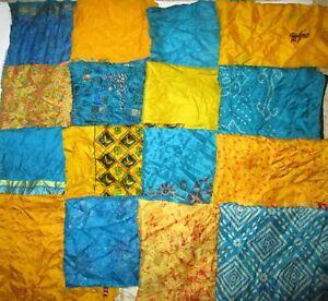 LOT-PURE-SILK-Antique-Vintage-Sari-Fabrics-REMNANT-20-pcs-5-inch-SQUARES-ABDBX