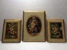 Vintage Italian Florentine Wooden Gold Gilt Wall Plaque Set Of 3 Floral Signed