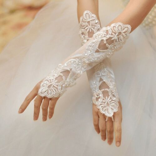 Lace Sequin Satin Ivory Gloves Lace FROM UK Bridal Wedding Party Evening