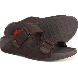 FITFLOP-GOGH-MOC-SLIDE-ADJUSTABLE-SANDALS-NEW-MEN-039-S-MANY-SIZES-CHOCOLATE-BROWN