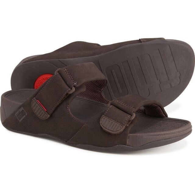 FITFLOP GOGH MOC SLIDE ADJUSTABLE SANDALS NEW MEN'S MANY SIZES CHOCOLATE BROWN