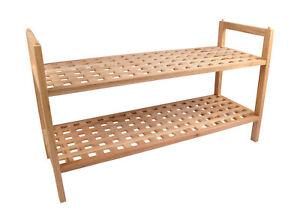 Holz-Schuhregal-mit-2-Boeden-chinesische-Walnuss-geoelt-Schuhstaender-Schuhbank