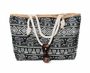 XXL-Damentasche-Strandtasche-Sommertasche-Badetasche-Elefant-Schwarz-Urlaub-Neu
