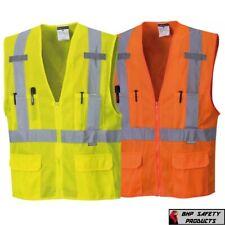 Portwest Us370 Atlanta Hi Vis Mesh Safety Vest With Reflective Tape Amp 6 Pockets