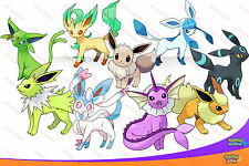 All 9 SHINY 6IV Eeveelutions Pokemon SUN & MOON Eevee Jolteon Sylveon Umbreon