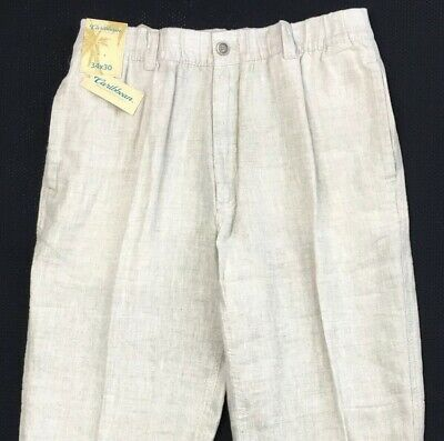 36//30 to 38//30 NWT White Caribbean Men/'s 100/% Linen Cargo Style Pants Sizes