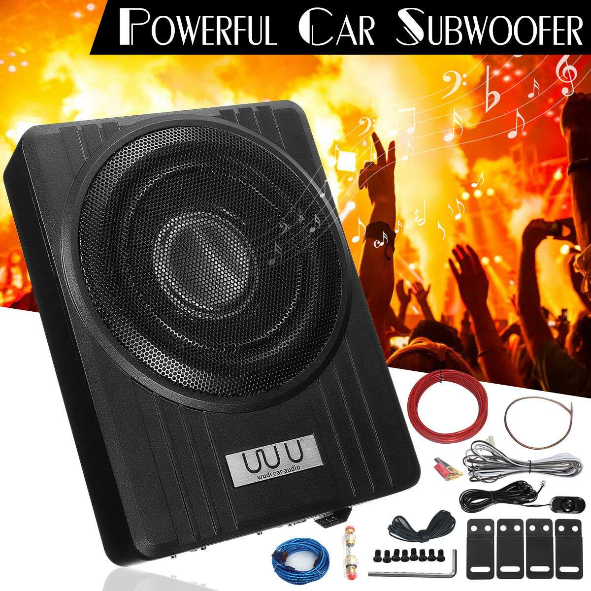 Amplifier 2 12quot Subwoofers Free Amp Wire Kit 4 Channel Wiring For And An 10 600w Car Slim Under Seat Audio Powered Subwoofer