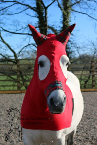 Red horse hood with tartan fleece trim. Made with or without a zip. Hand made