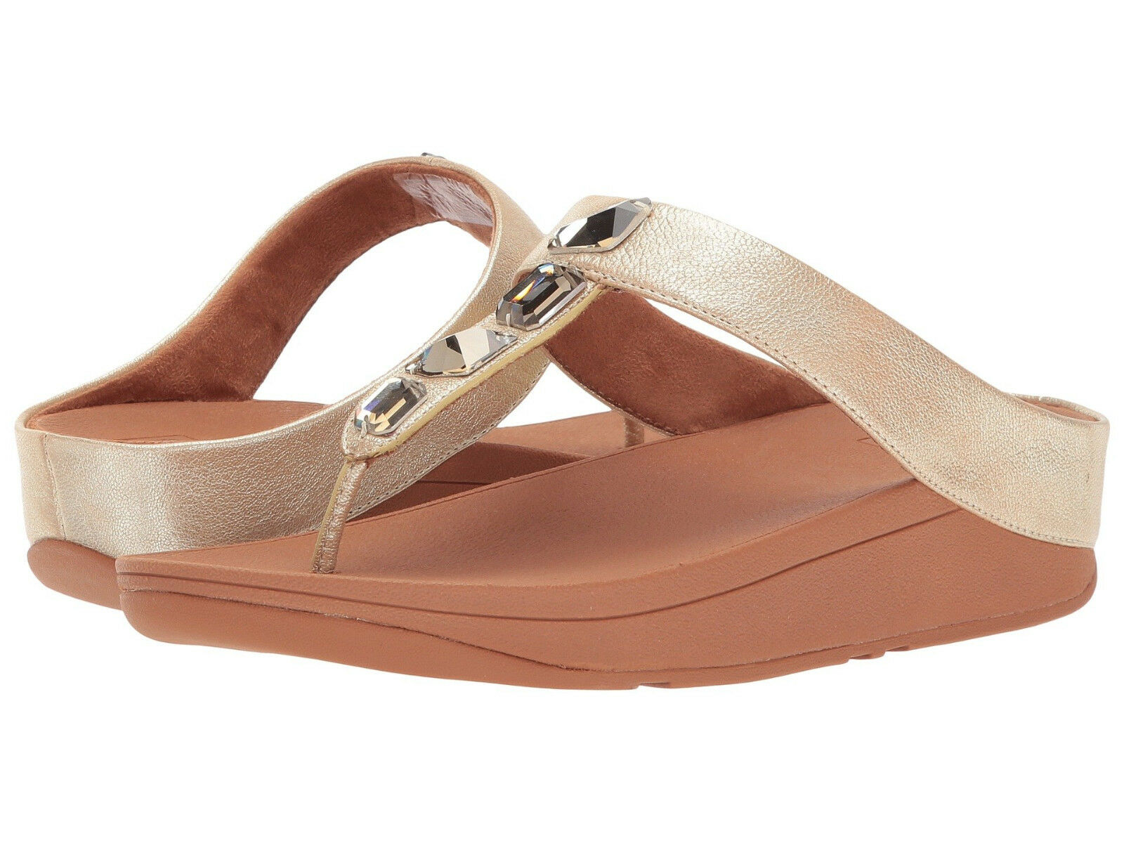 Damens FitFlop Gold Roka Toe Thong Sandale Leder K05-010 Gold FitFlop 100% Authentic New ecff4b