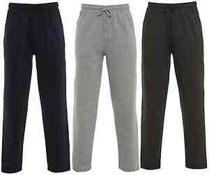 3ec9347782 Details about Open Hem Jogging Bottoms Joggers Fleece Trousers Mens Black  Grey Charcoal New