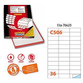 31151 Etichetta adesiva C//506 bianca 100fg A4 70x25mm 36et//fg Markin