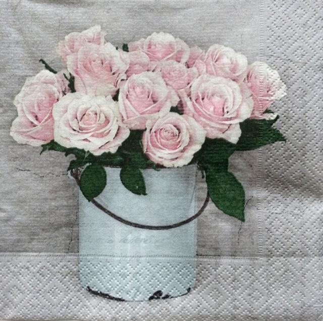 4 x Table PAPER NAPKINS CRAFT- TEA ROSES  - FOR DECOUPAGE / TEA PARTY / SAGEN