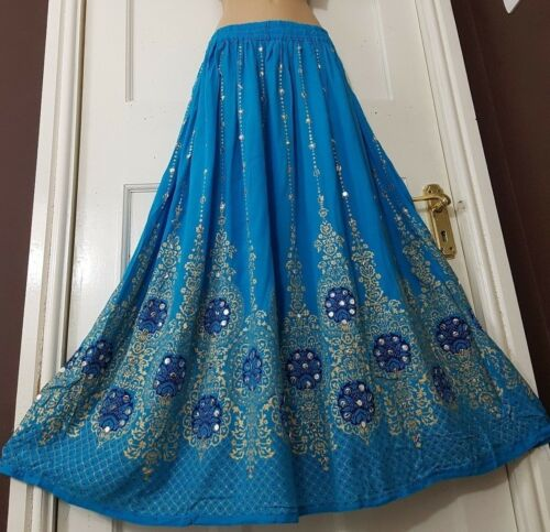 Ladies Indian Boho Hippie Gypsy Party Sequin Skirt Rayon Turquoise 8 10 12 14