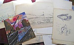 """Serie De 12 Dessins Originaux """"marines Et Ports"""" 1950-60 Signé M. Dupuy Poissons Nnj5s3vq-08004135-232897747"""