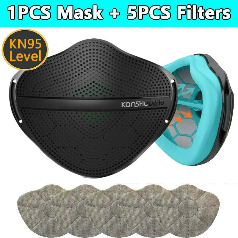 Black XL Silicone Mask With 5 PM2.5 Filters Separate Mouth Nose Respirator US