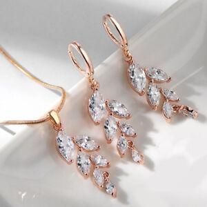 2-PC-Lot-White-Morganite-Topaz-Gems-Rose-Gold-Women-Earrings-Necklace-Pendant