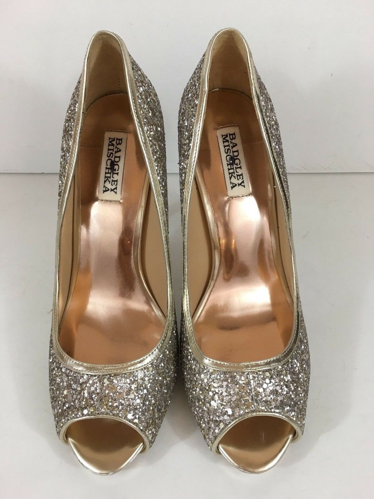 NEW BADGLEY MISCHKA GLITTER gold gold gold LEATHER  HEEL OPEN TOE PUMP SIZE 10  265 f0181b