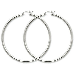 925-Sterling-Silver-Rhodium-Plated-3mm-x-65mm-Polished-Hinged-Hoop-Earrings