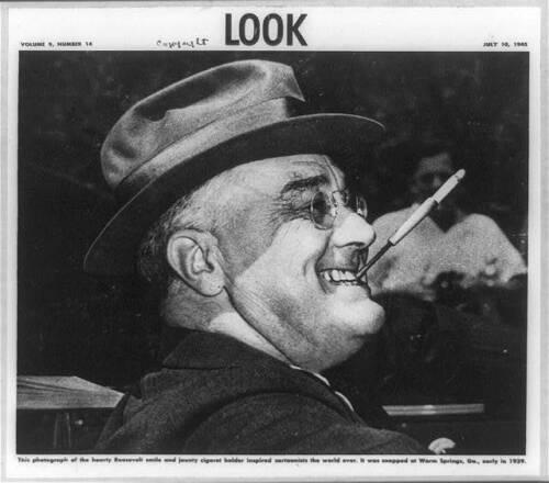 Hearty Franklin Roosevelt smile,jaunty cigaret holder inspired cartoonists,1945