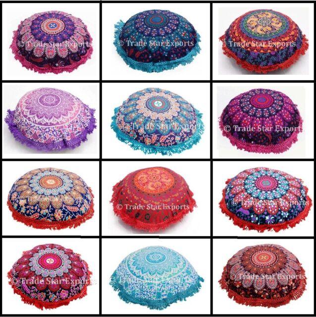 """Indian Mandala Fringe Pillow Case 16"""" Ethnic Home Decor Round Sofa Cushion Cover"""