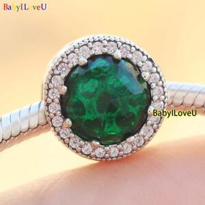 925-Sterling-Silver-Radiant-Hearts-Charm-Sea-Green-Crystals-Clear-CZ-F-Bracelet