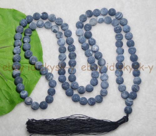 8 mm bouddhisme tibétain 108 perles noir Dream Fire Agate Prière Mantra Mala Collier