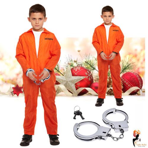 Bambini Costume Tuta Arancione Prigioniero Completo Polsini a mano Natale Fancy Costume