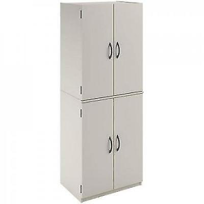 Kitchen Pantry Storage Cabinet White 4 Door Shelves Wood
